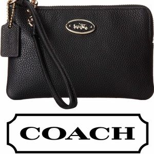 NEW Coach leather wristlet black gold 525563
